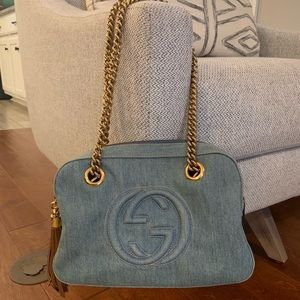 Gucci Soho Chain denim shoulder bag with fringe